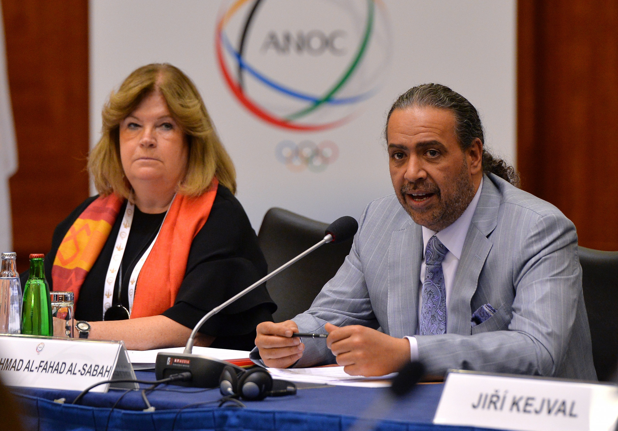 ANOC President Sheikh Ahmad Al-Fahad Al-Sabah, right, and secretary general Gunilla Lindberg pictured at today's meeting