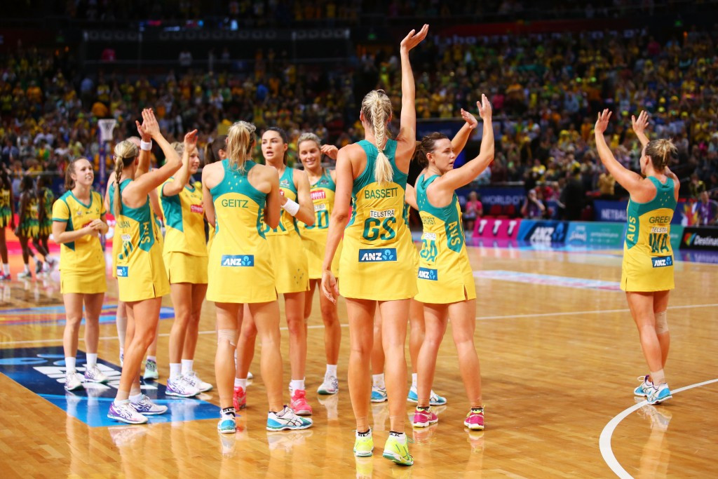 Defending champions Australia celebrate their semi-final victory against Jamaica in the Netball World Cup ©Getty Images