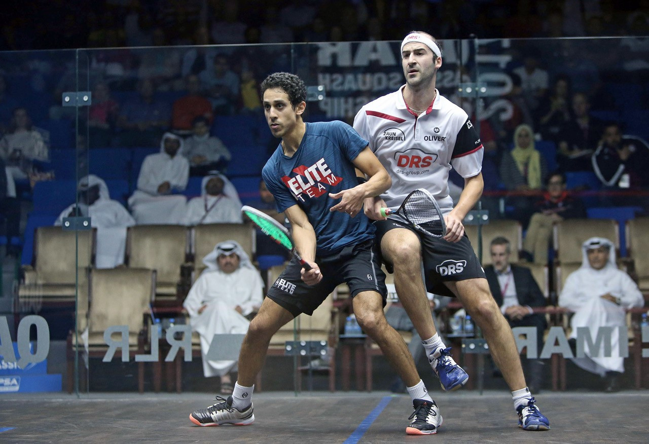 Egypt's Tarek Momen secured a long-awaited debut in a major PSA World Series tournament final after claiming a straight-games victory over Germany's Simon Rösner ©PSA