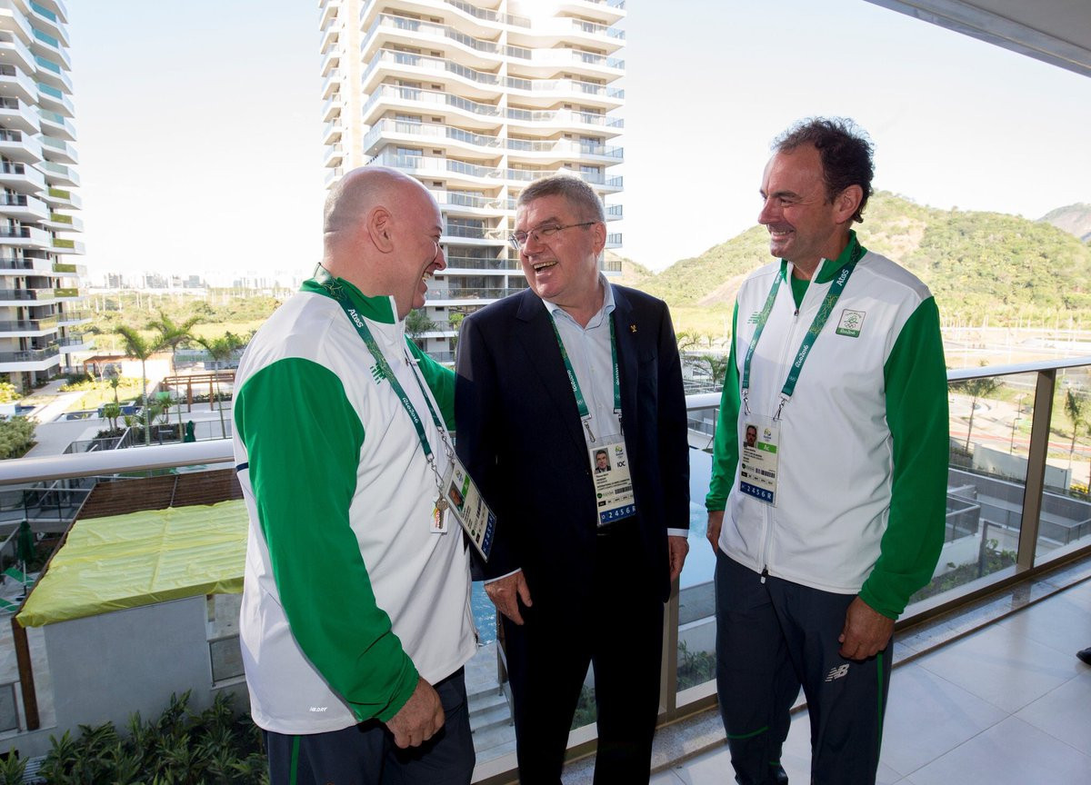 Stephen Martin, right, was Ireland's Chef de Mission at Rio 2016 and later had to surrender his passport following the ticket scandal involving OCI President Patrick Hickey ©Twitter