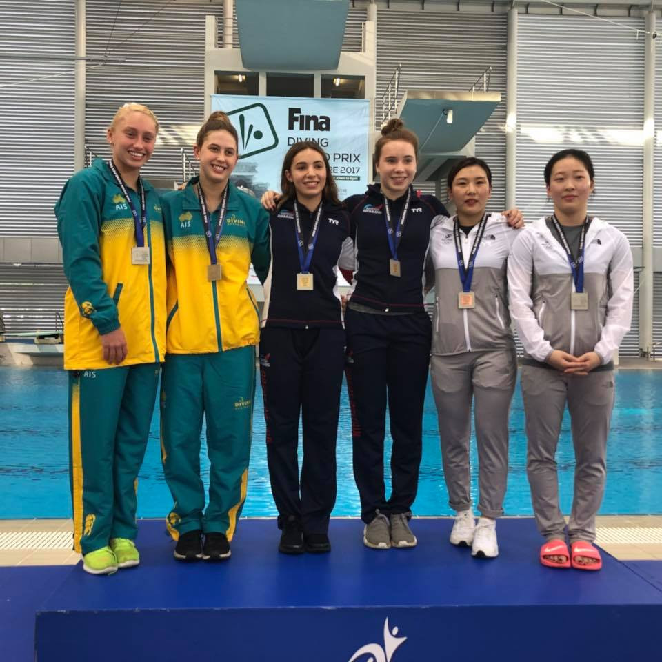 Scarlett Mew Jensen and Yasmin Harper of Britain, centre, triumphed in the synchronised 3m springboard event ©Facebook