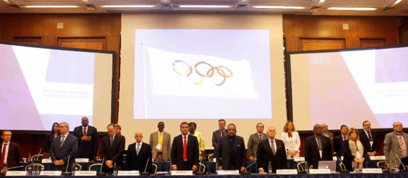 PanAmSports officials during today's General Assembly meeting ©ITG