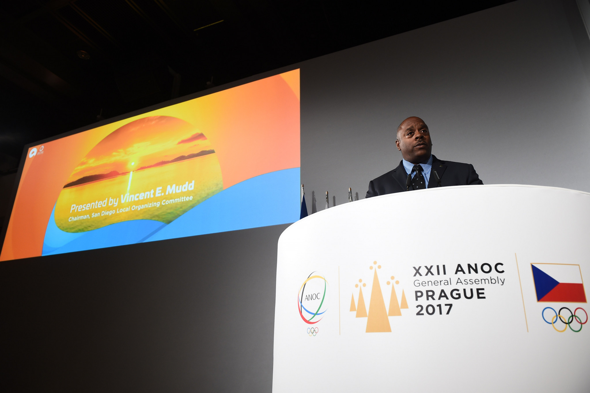 San Diego 2019 chairman Vincent Mudd presented the concept in Prague last week ©Getty Images