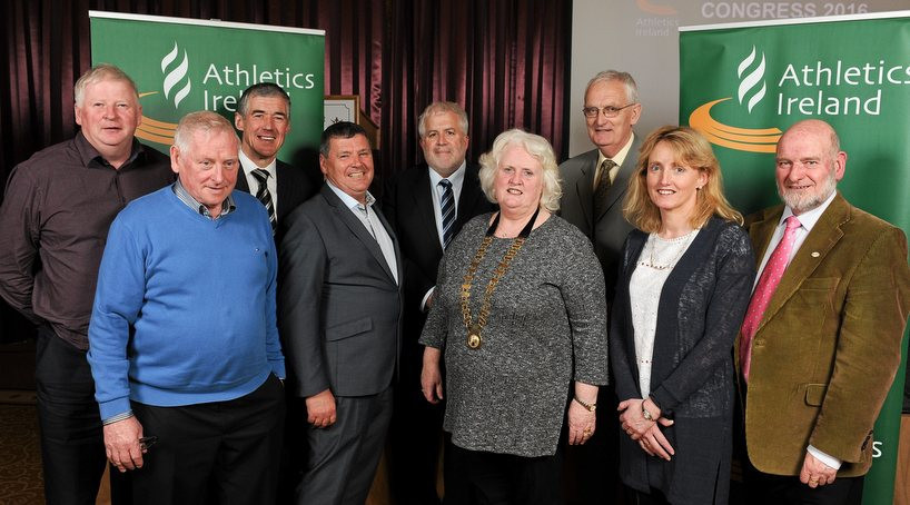 Georgina Drumm, who was among the speakers at the Dublin conference, pictured after being elected President of Athletics Ireland at the Tullamore Court Hotel in 2016 ©Athletics Ireland