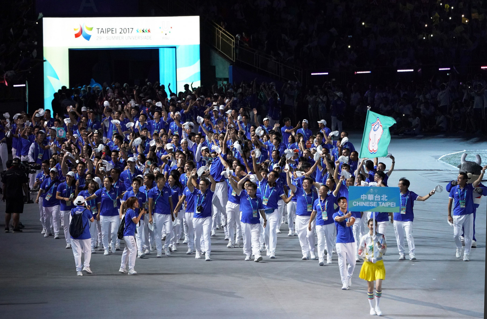 Members of the Chinese Taipei team enter the stadium in the Opening Ceremony of the 29th Summer Universiade Games at Taipei Municipal Stadium in August ©Getty Images