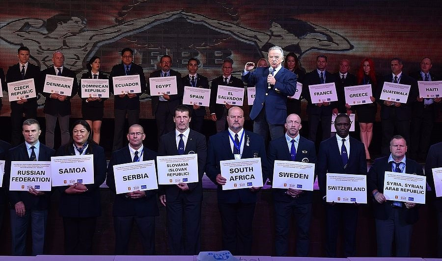 IFBB President Rafael Santonja delivered a speech as part of proceedings ©Igor Kopcek/East Labs Team/IFBB