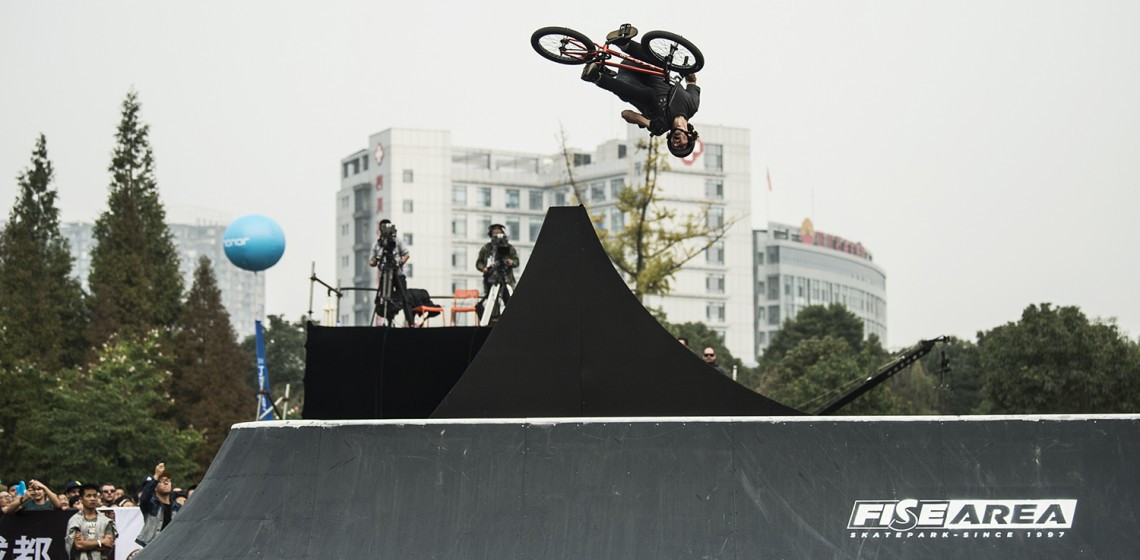 Nick Bruce won the final BMX Freestyle Park event of the season ©FISE
