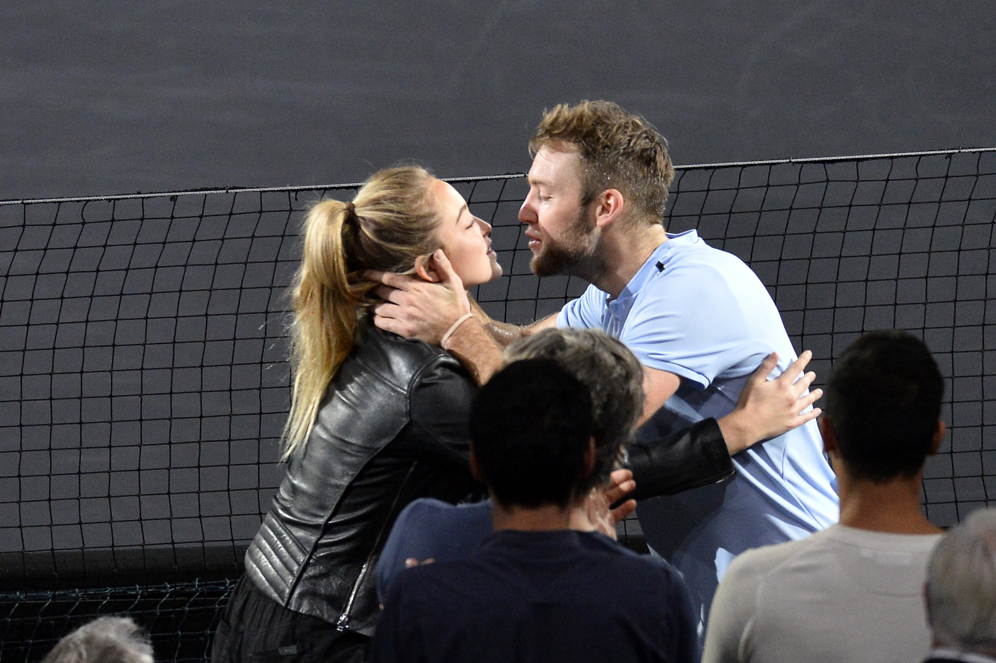 Jack Sock, of the United States, kisses his girlfriend Michala Burns after winning the men's singles against Filip Krajinovic, of Serbia, at the Rolex Paris Masters ©Getty Images