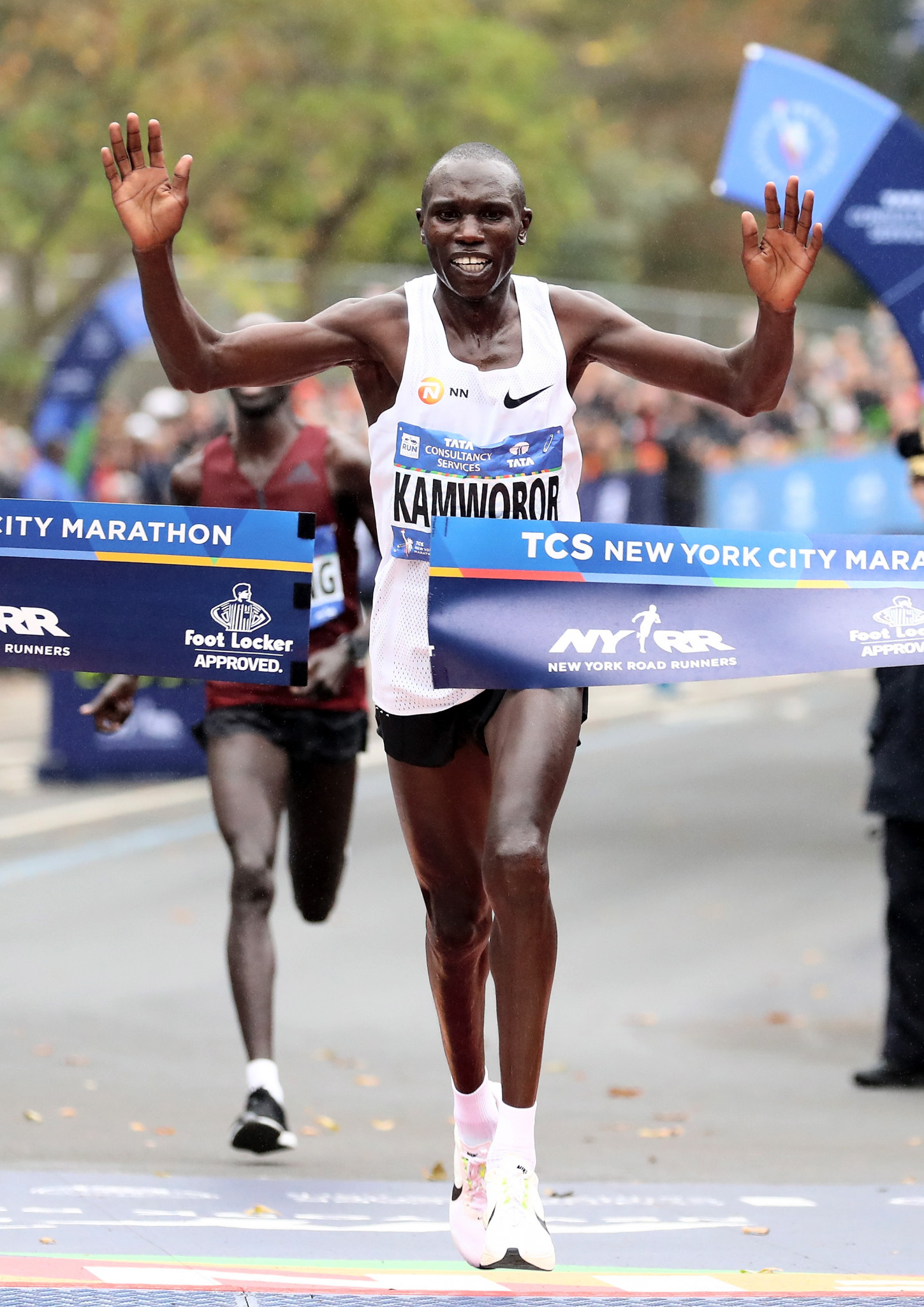 Geoffrey Kamworor, of Kenya, crosses the finish line as he wins the 2017 New York City Marathon in Central Park ©Getty Images