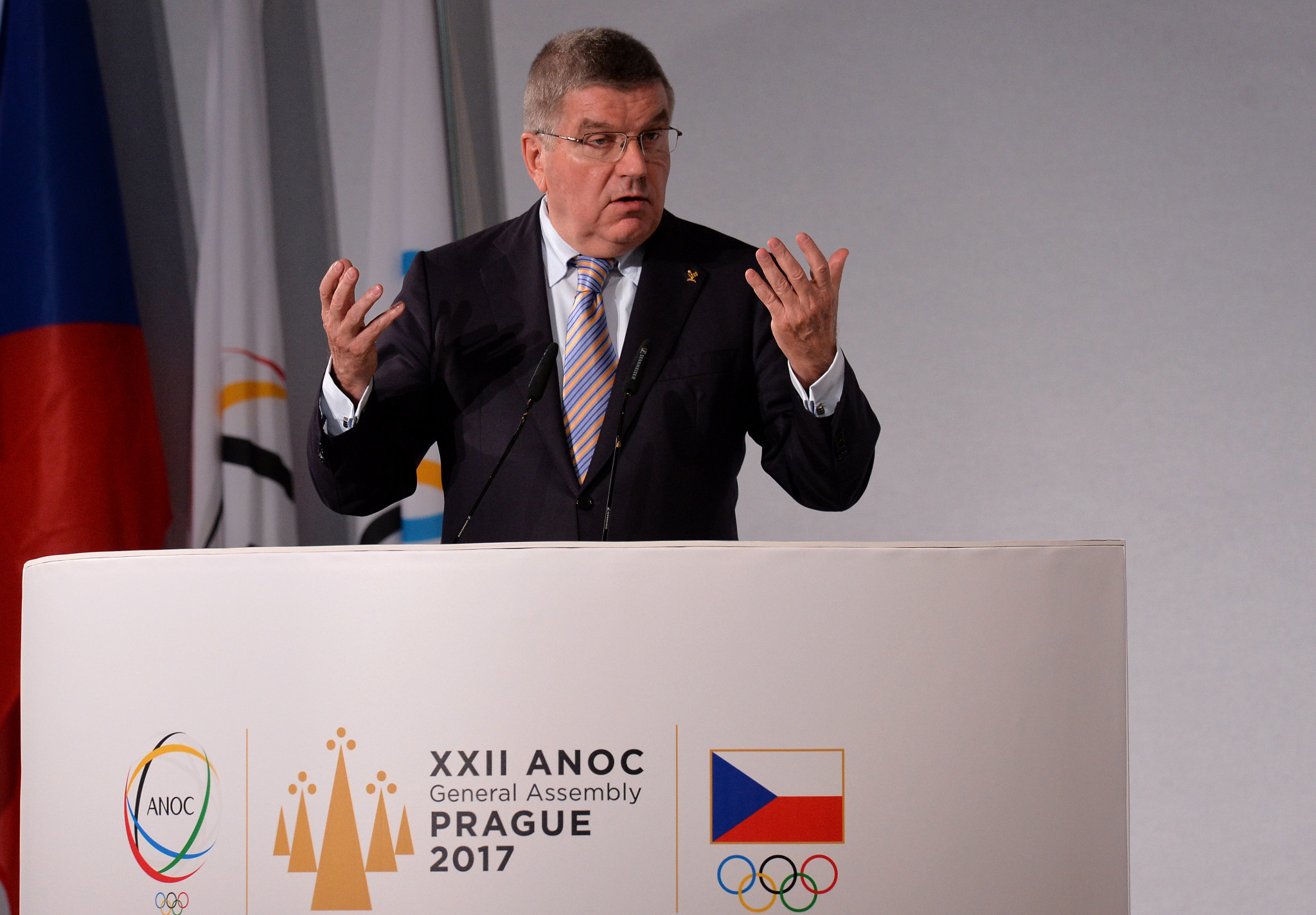 IOC President Thomas Bach pictured speaking at the ANOC General Assembly ©Getty Images