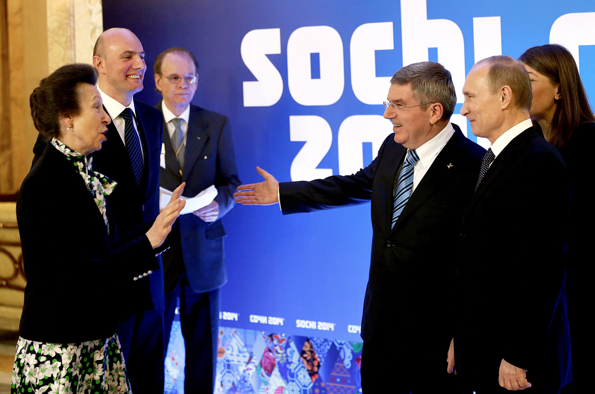 Thomas Bach, Vladimir Putin and Sochi 2014 President Dmitry Chernyshenko, centre left, all pictured together, along with British IOC member Princess Anne, at Sochi 2014 ©Getty Images