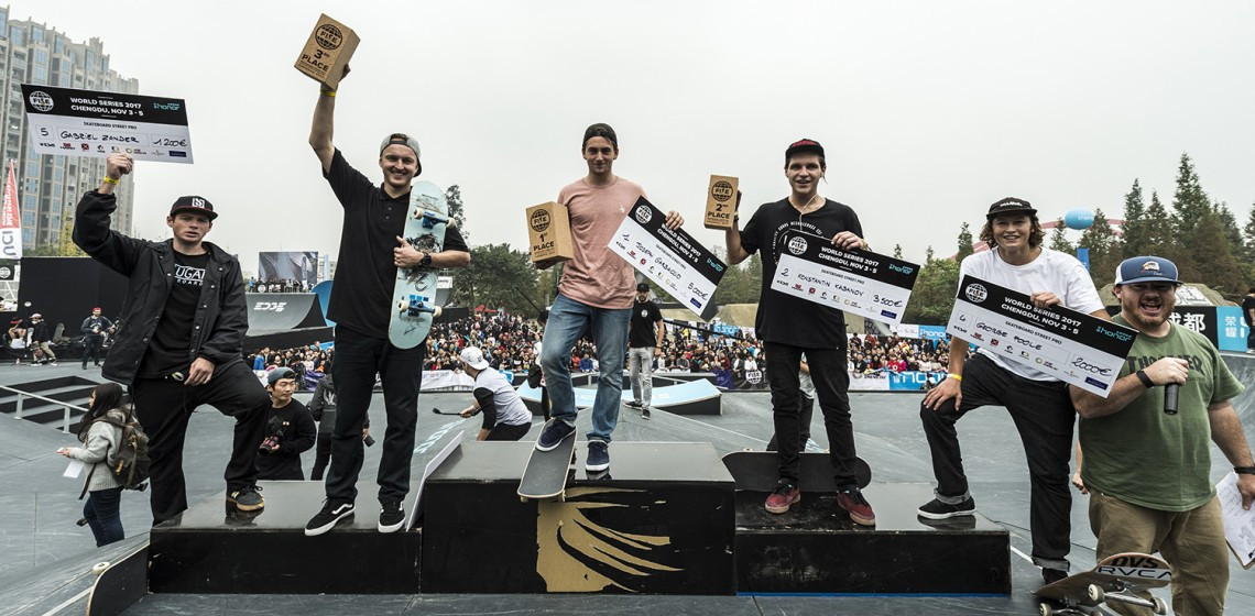 Teenage French skateboarding star Joseph Garbaccio won the FISE Skateboard Street Pro competition in Chengdu, China ahead of Russia's Konstantine Kabanov and Martin Pek of the Czech Republic ©FISE