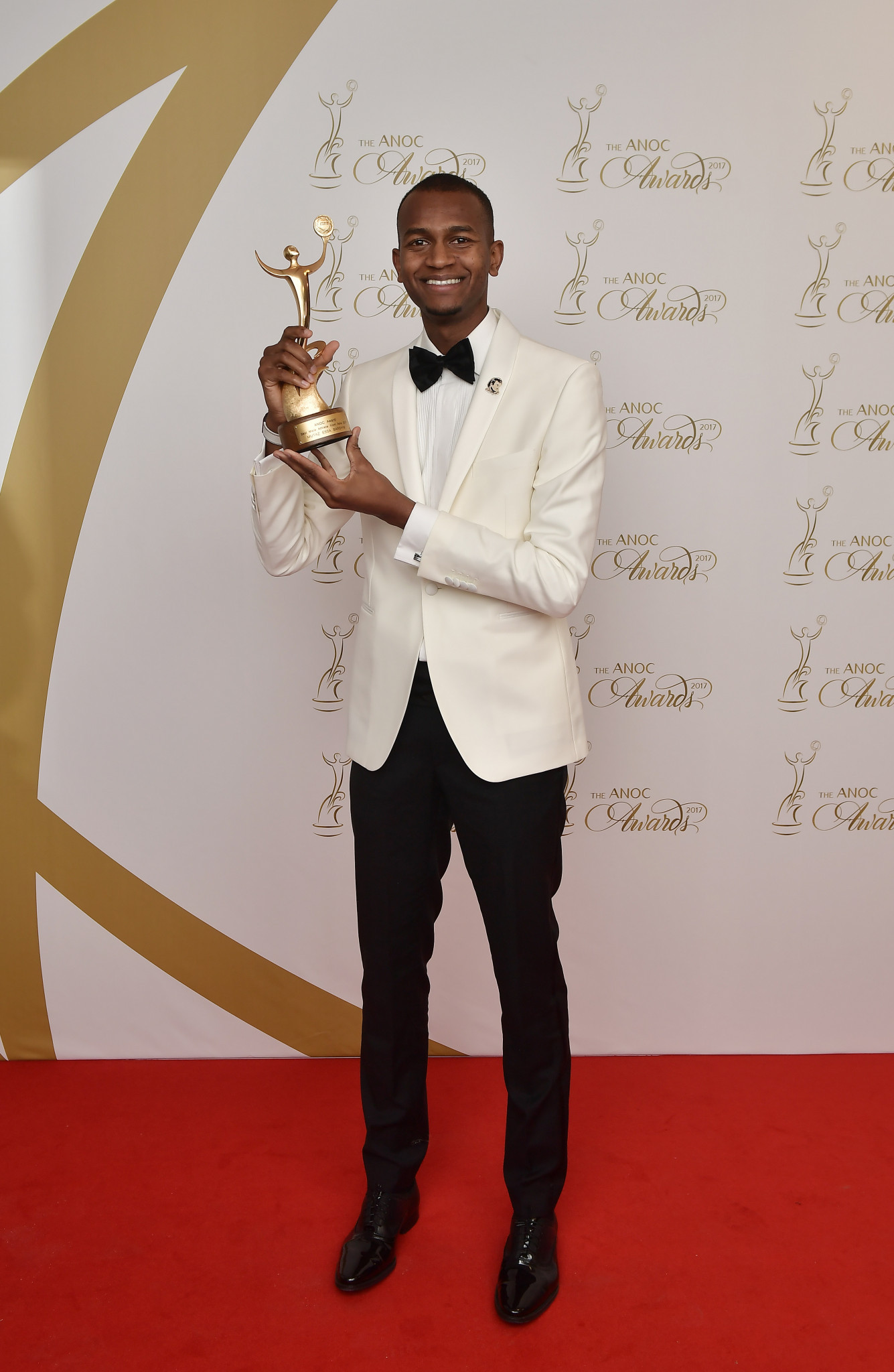 Mutaz Essa Barshim of Qatar, pictured with the Association of National Olympic Committees' award for Best Male Asian Athlete 2017 at its general assembly in Prague, is among the finalists for Male World Athlete of the Year ©Getty Images