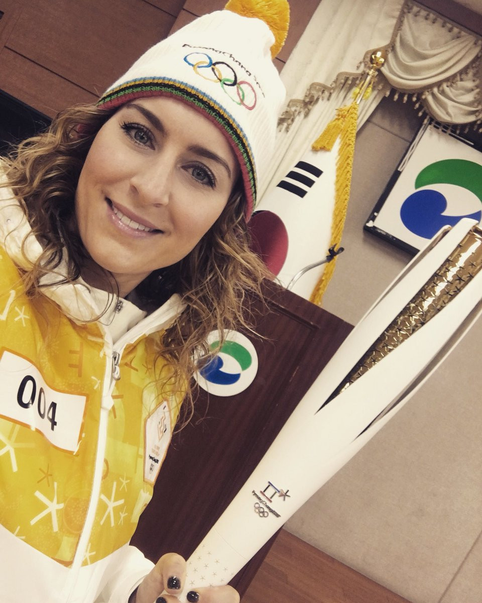 Amy Williams, the Vancouver 2010 skeleton gold medallist, was among several British athletes invited by Samsung to travel to South Korea to carry the Olympic Torch ©Twitter