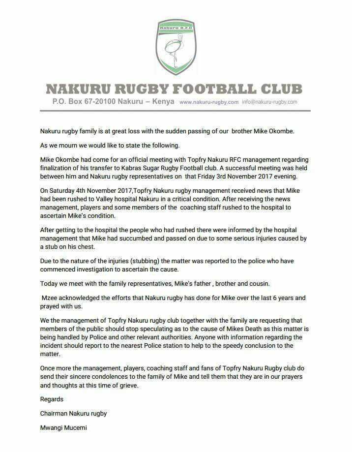 A statement from Nakuru Rugby Rootball Club following the death of Mike Okombe ©Nakuru Rugby Football Club/Facebook