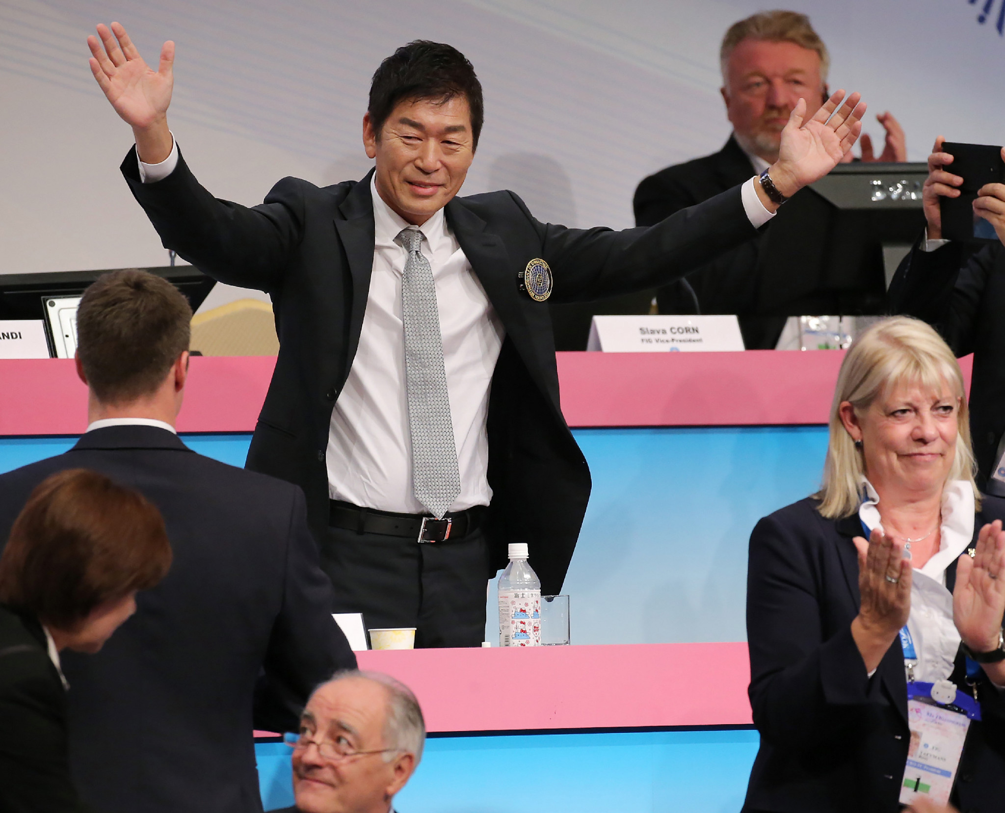 Morinari Watanabe celebrating his election as FIG President last year ©Getty Images