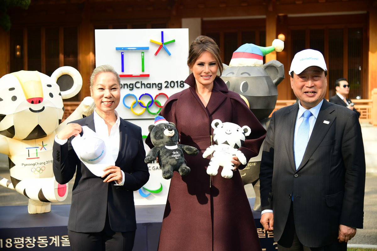 United States First Lady Melania Trump was presented with the Winter Olympic and Paralympic Games mascots Bandabi and Soohorang by Pyeongchang 2018 President Lee Hee-beom ©Twitter