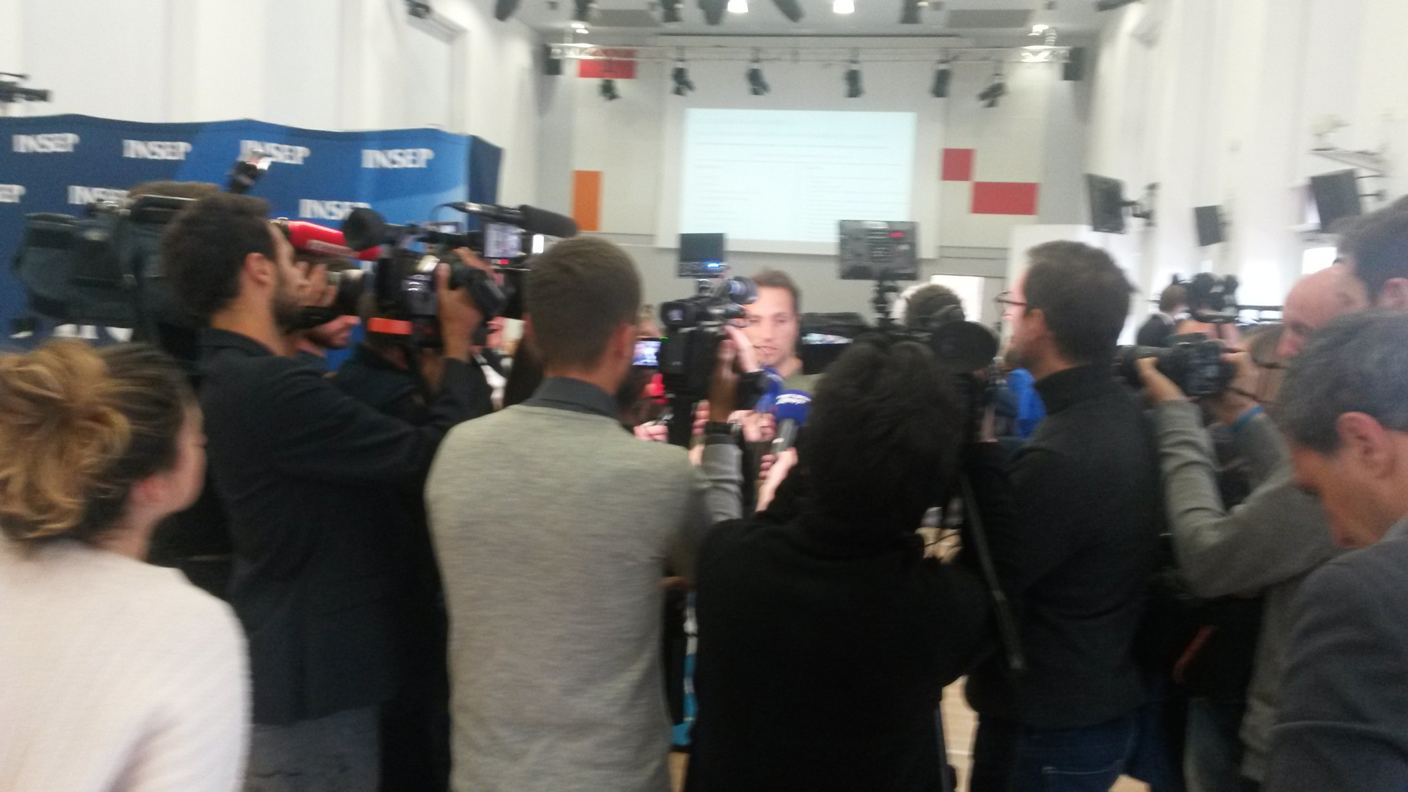 Renaud Lavillenie faces the press at the Paris 2024 consultation at INSEP in Paris today ©ITG