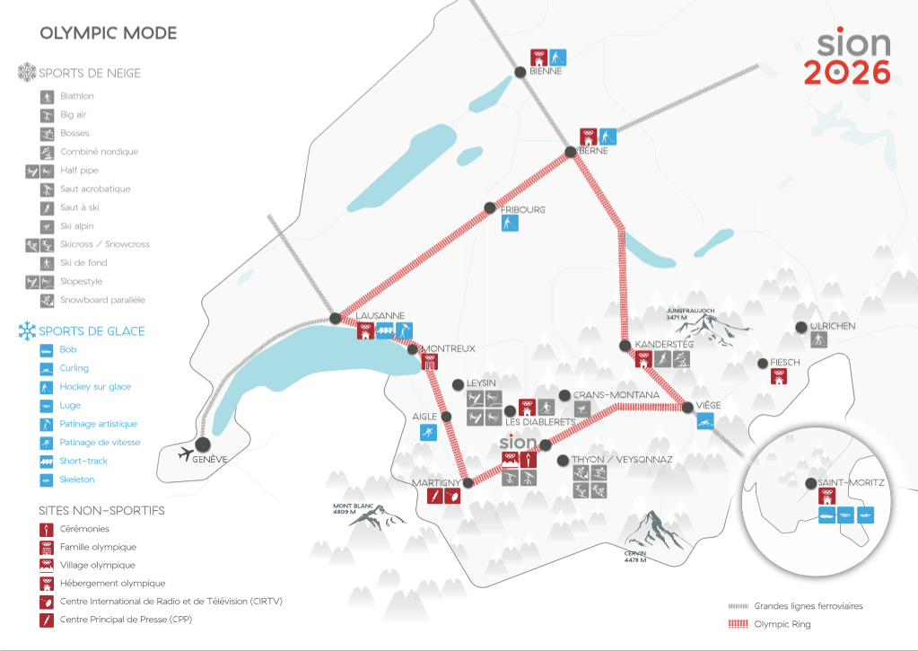 A map showing proposed venues at Sion 2026 ©Sion 2026