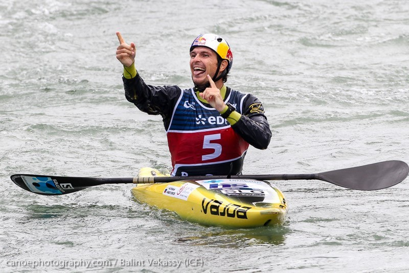 Slovenia's Peter Kauzer won K1M gold to secure his third overall ICF Slalom World Cup title ©ICF