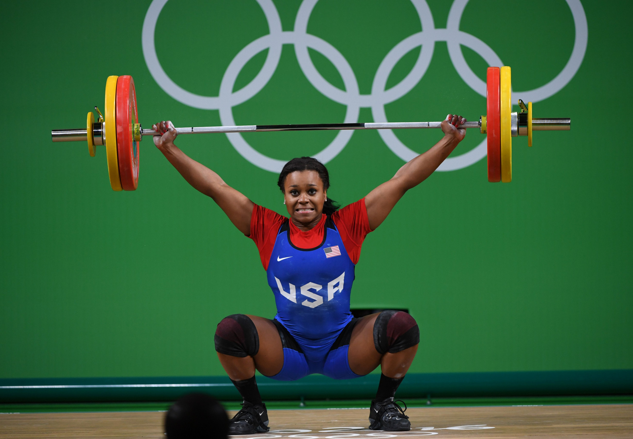 Jenny Arthur competes during the women's weightlifting 75kg event at Rio 2016 ©Getty Images