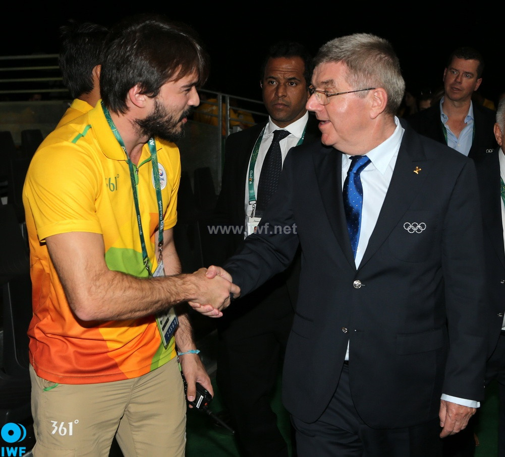 Pedro Meloni, management mastermind of the American Open Series, with IOC President Thomas Back at the Rio Olympics @IWF