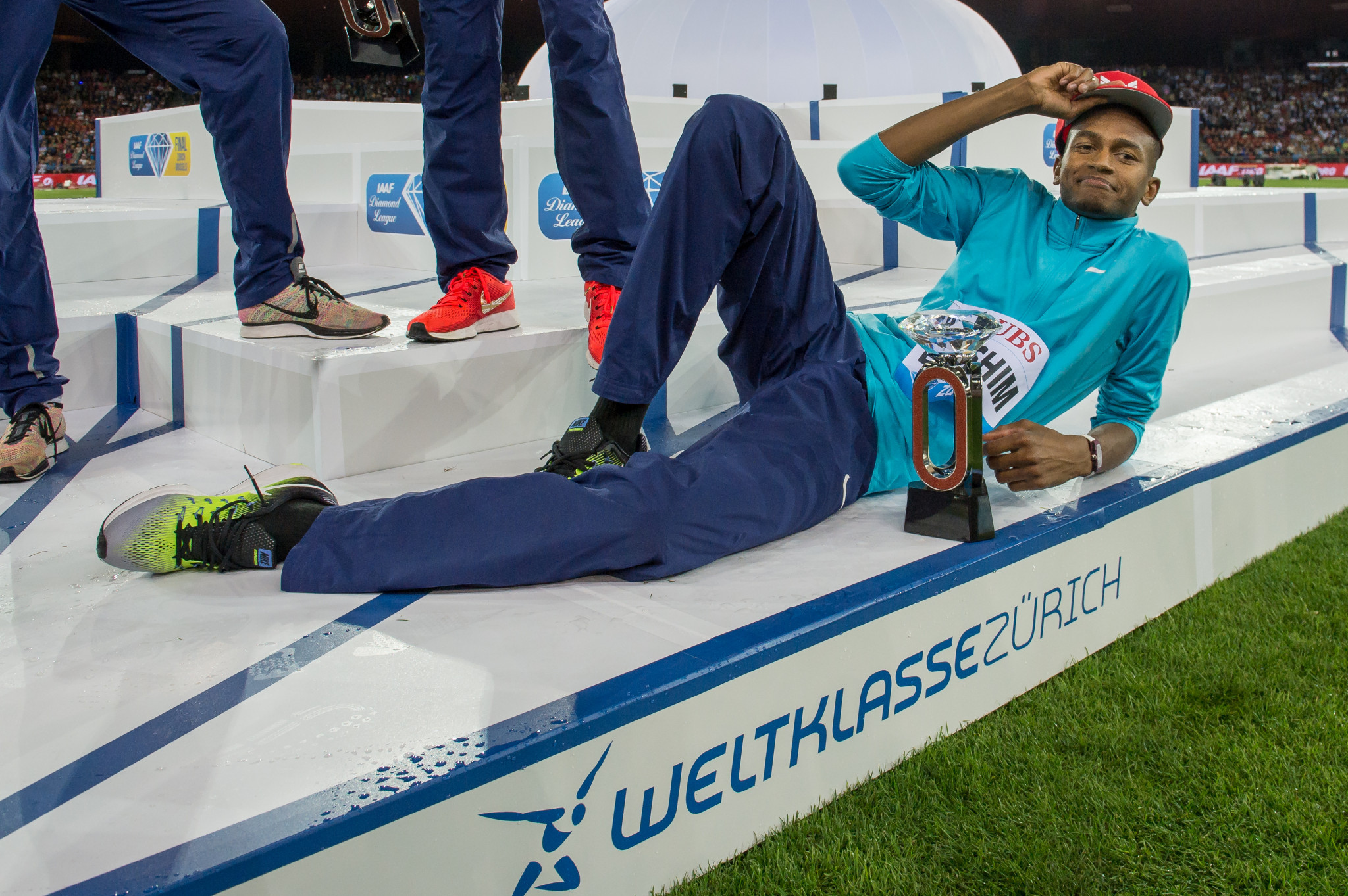 Qatar's world high jump champion Mutaz Essa Barshim with his Diamond Trophy in Zurich this year - the IAAF have confirmed the ongoing value of the Diamond League event ©Getty Images