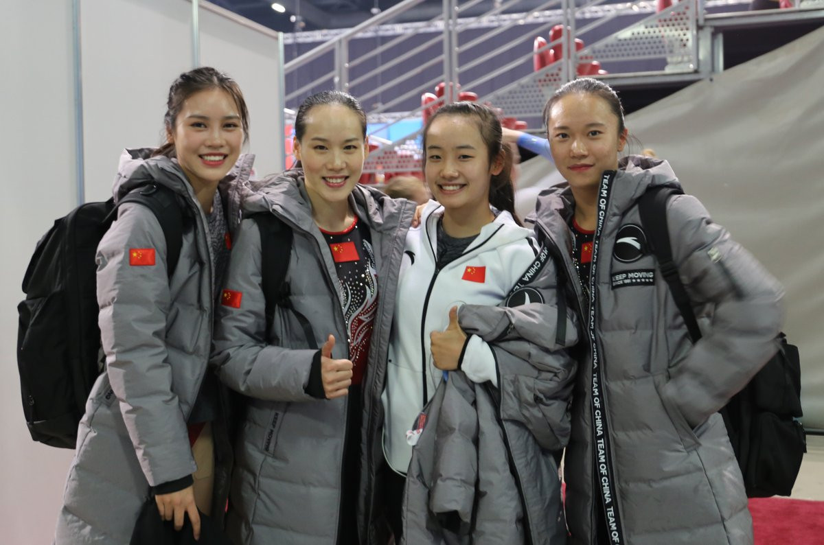 China's women secured their sixth title since 2005 with another commanding display in the team trampoline event ©FIG