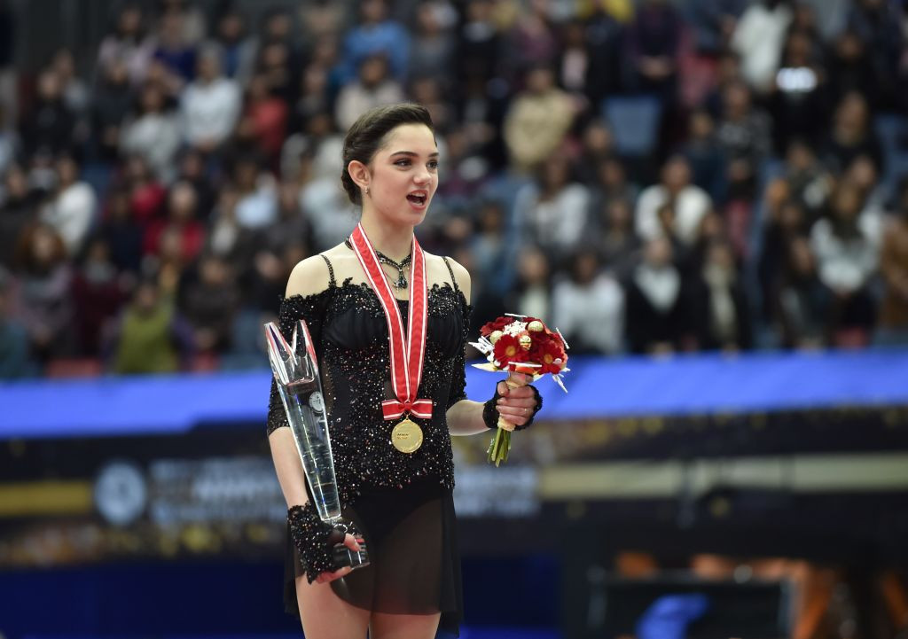World champion Evgenia Medvedeva of Russia recovered from an early set-back to win the women's gold medal at the ISU Grand Prix of Figure Skating event in Osaka ©ISU