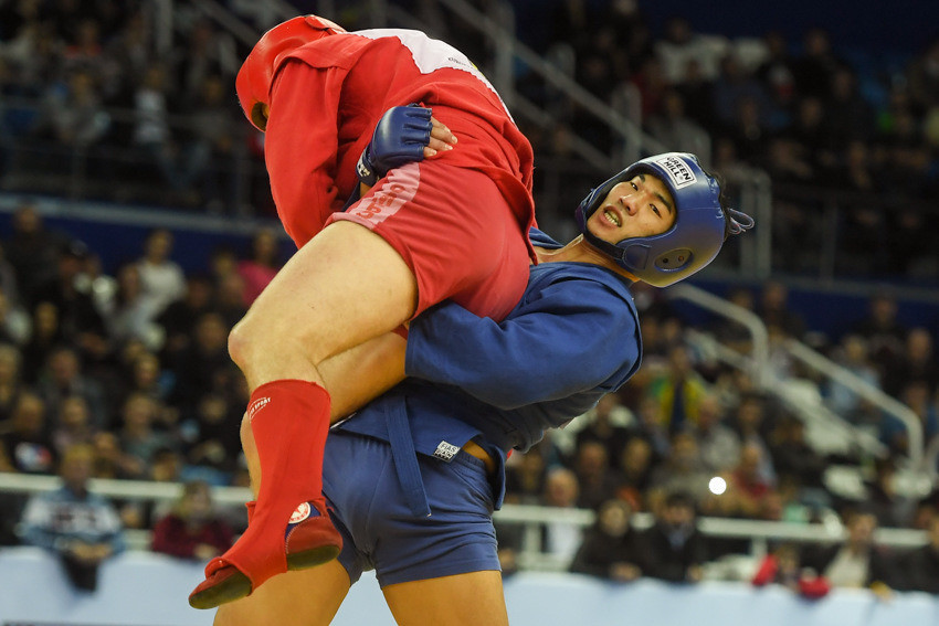 South Korea's Ko Seo Hyeon defeated Belarus' Yauheni Aleksiyevich in the  combat men's 82kg final ©FIAS