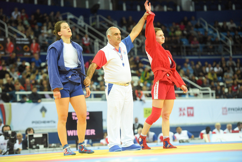 Belarus' Tatsiana Matsko defended her women's 64kg title courtesy of a quick-fire win over Italy's Alice Perin ©FIAS