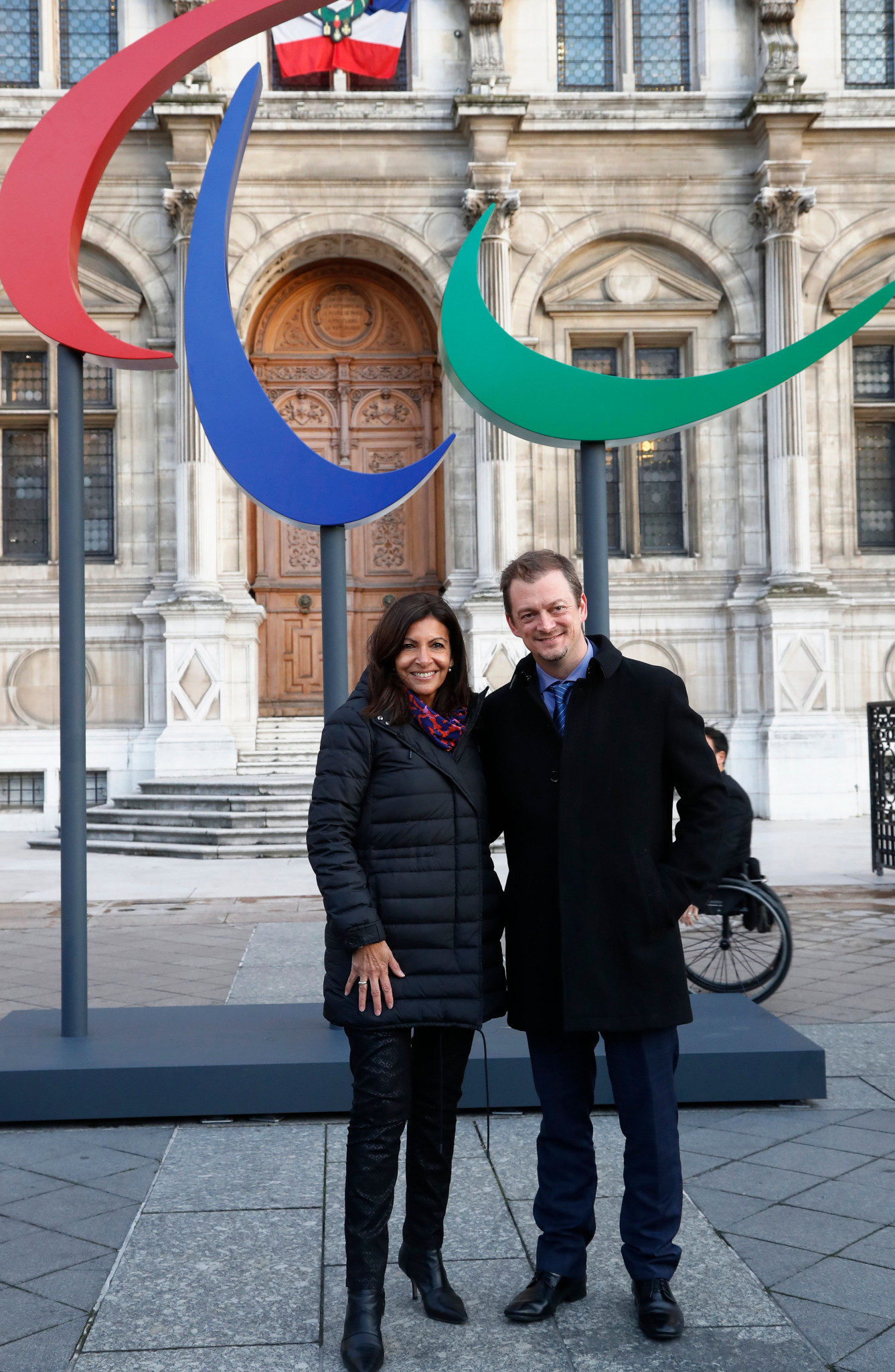 Anne Hidalgo, Mayor of Paris, and IPC President Andrew Parsons present an entente cordiale outside the Hotel de Ville in Paris where they discussed the French capital hosting the 2024 Paralympic Games ©Getty Images