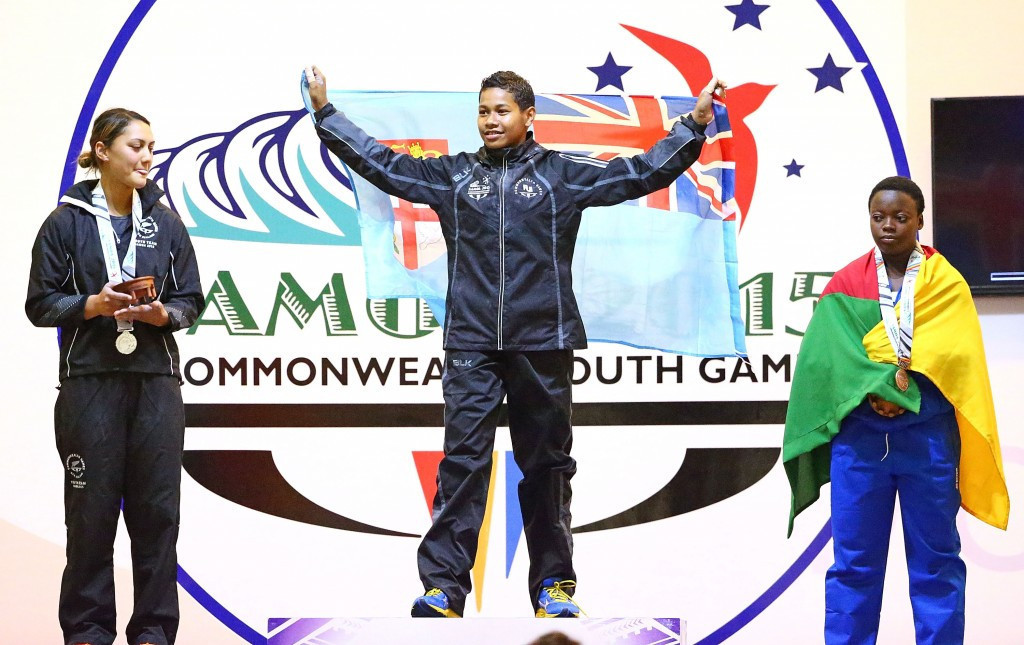 Eileen Cikamatana of Fiji topped the podium in the girl's 63kg event at the Commonwealth Youth Games in Samoa in 2015 ©Getty Images