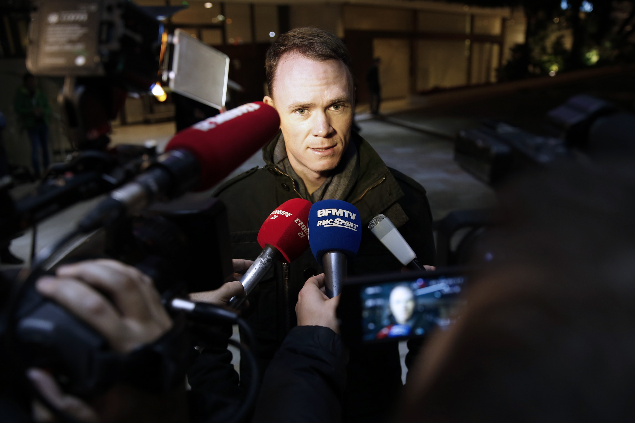 Tour de France winner Christopher Froome speaks to the press before the start of the Peace and Sport walk on November 25, 2015 in Monaco ©Getty Images