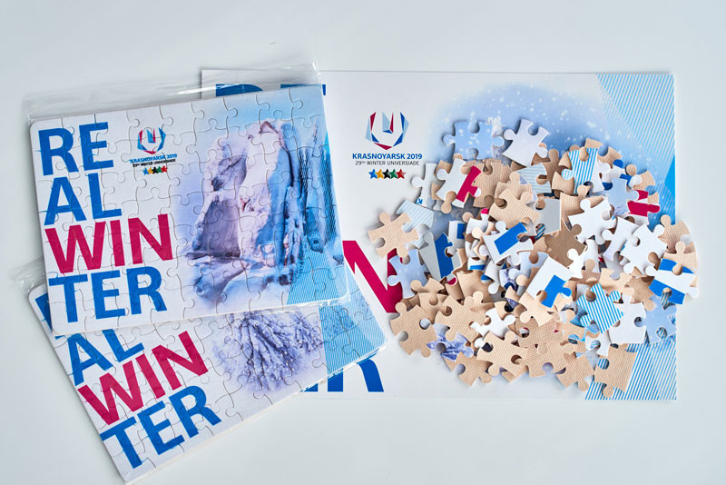 An official Krasnoyarsk 2019 jigsaw is among souvenirs on sale ©Krasnoyarsk 2019
