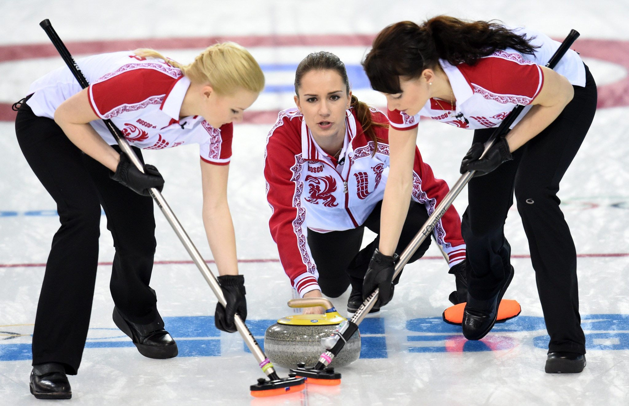Ekaterina Galkina, right, pictured competing as part of the Russian team at Sochi 2014 ©Getty Images