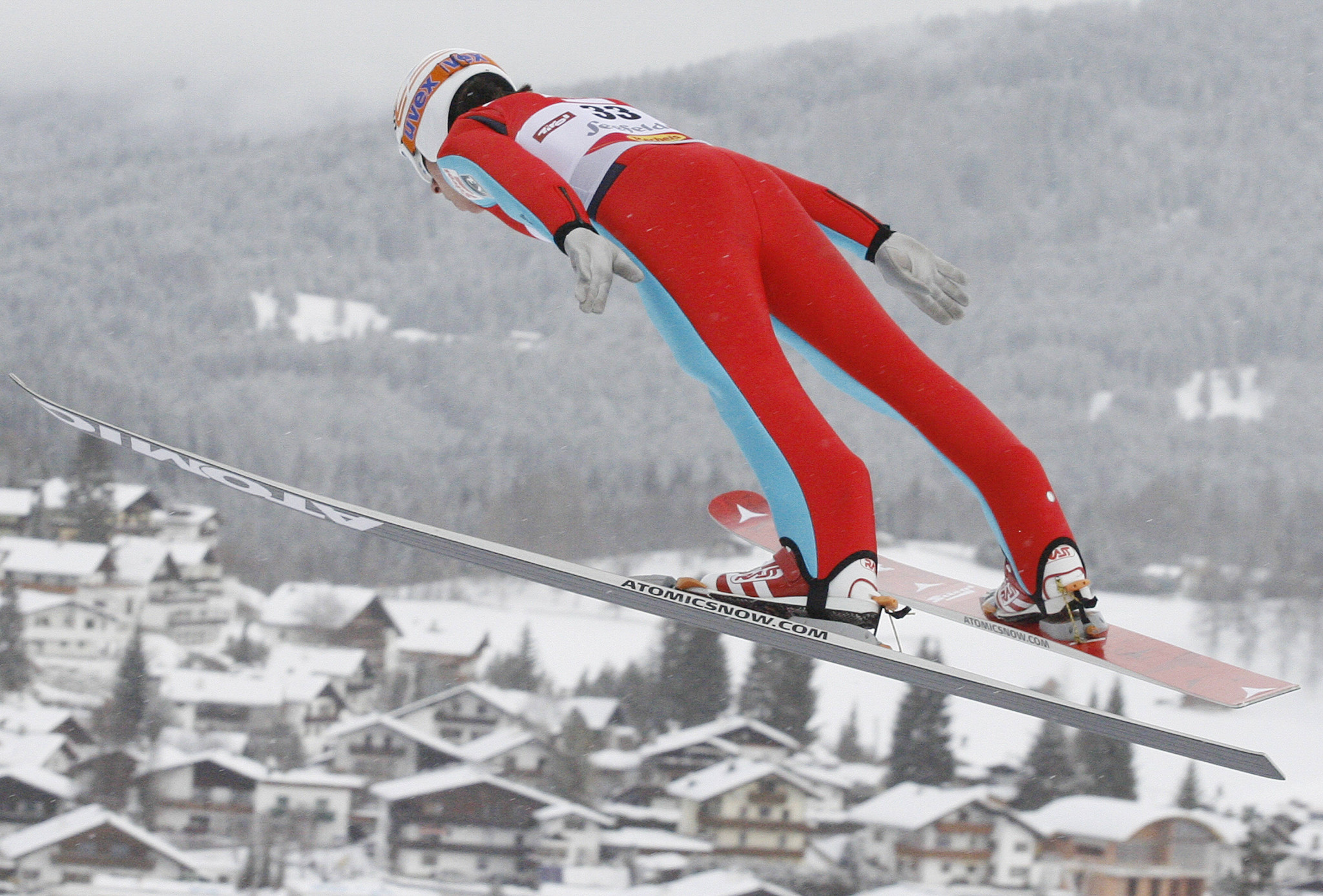 Tomaz Druml competes during the 15th Nordic Combined World Cup in January 2010 at the 'Toni-Seelos' jump in Seefeld ©Getty Images