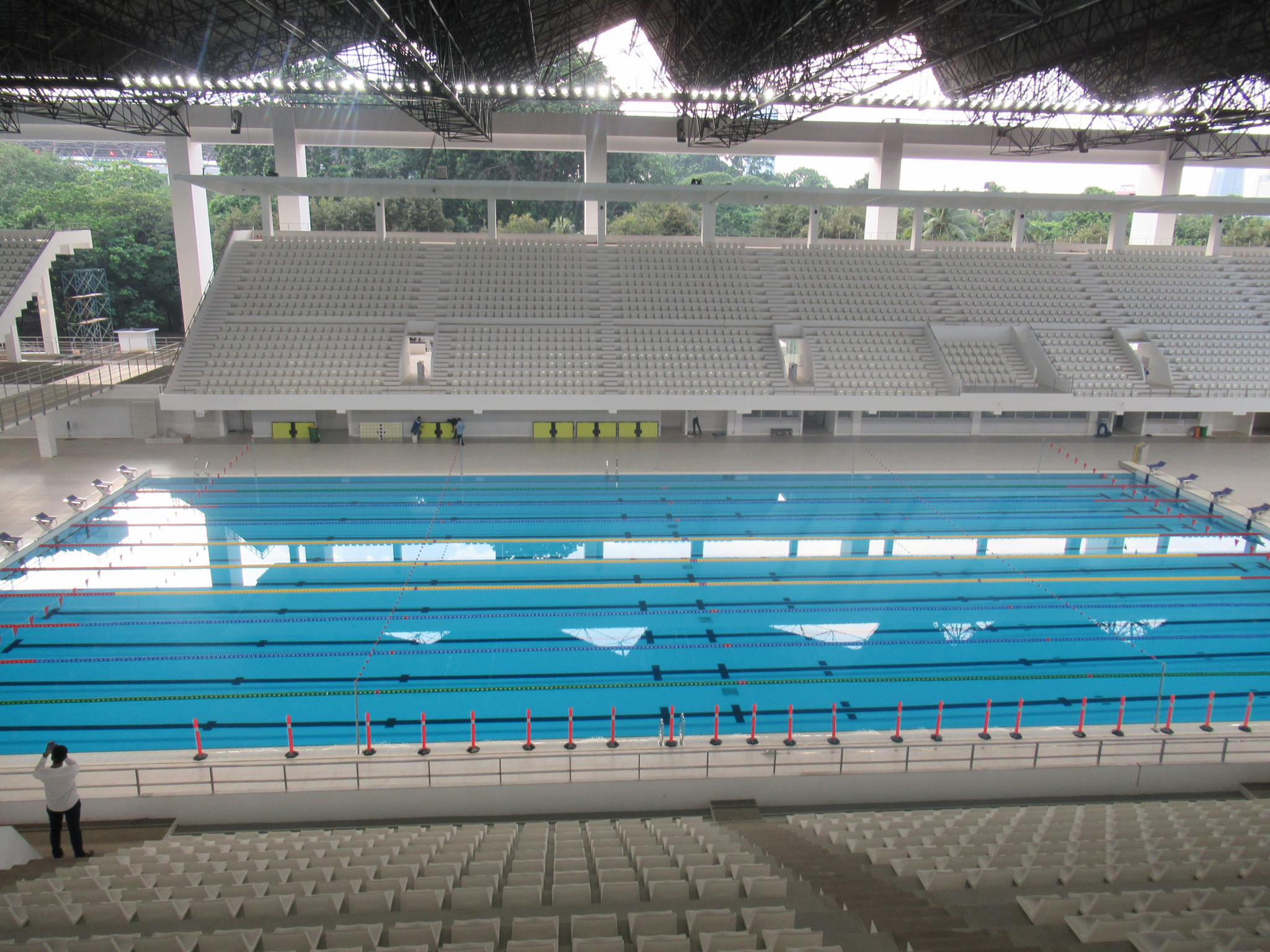 The refurbished aquatic centre was another key venue assessed during the visit ©OCA