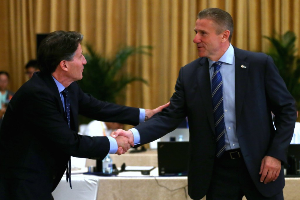 Sebastian Coe (left) is favourite to beat Sergey Bubka (right) to become President of the IAAF ©Getty Images