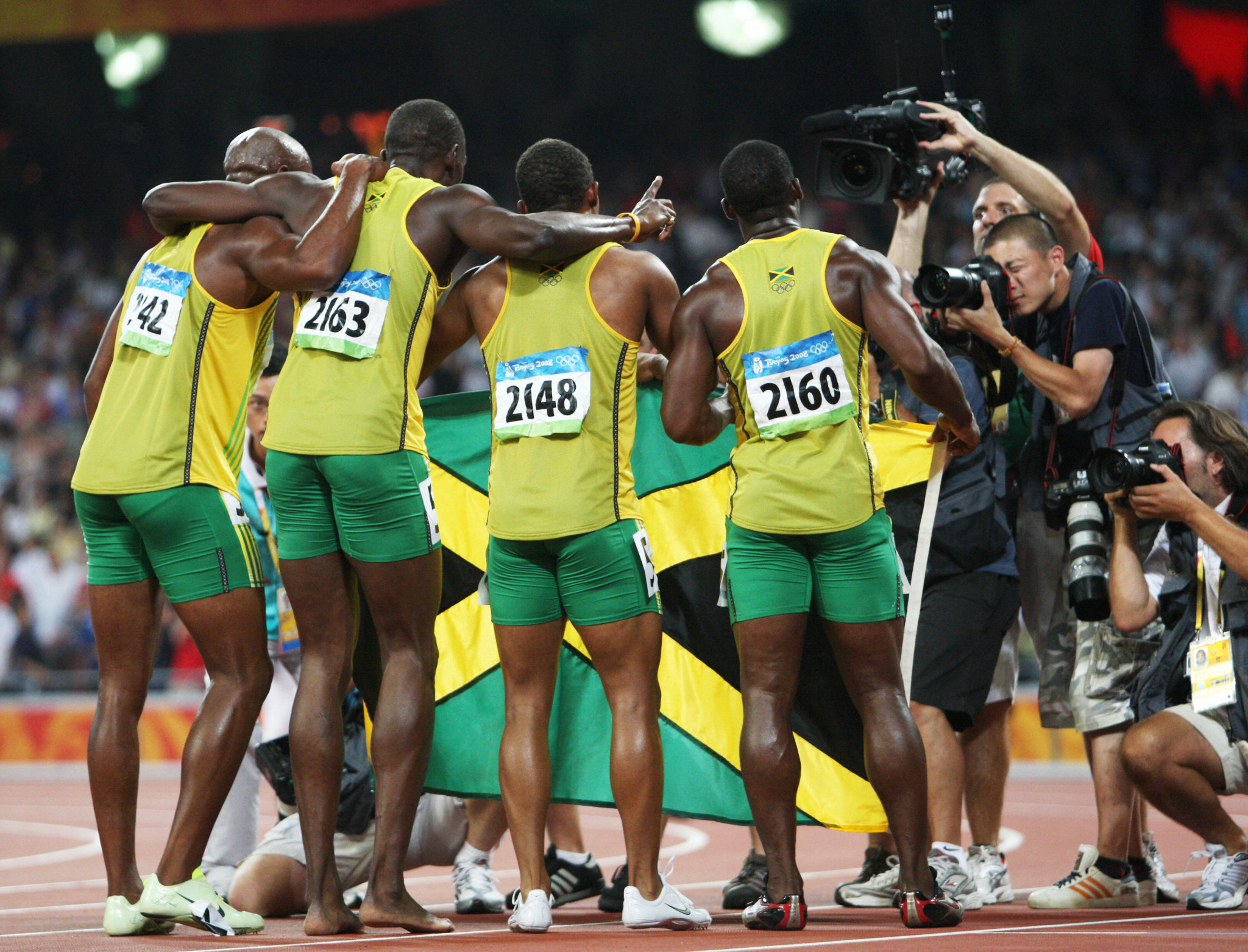Jamaica lost their men's 4x100m gold from Beijing 2008 after Nesta Carter's positive test ©Getty Images