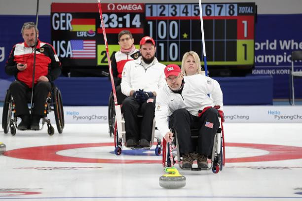 United States select Paralympic wheelchair curlers