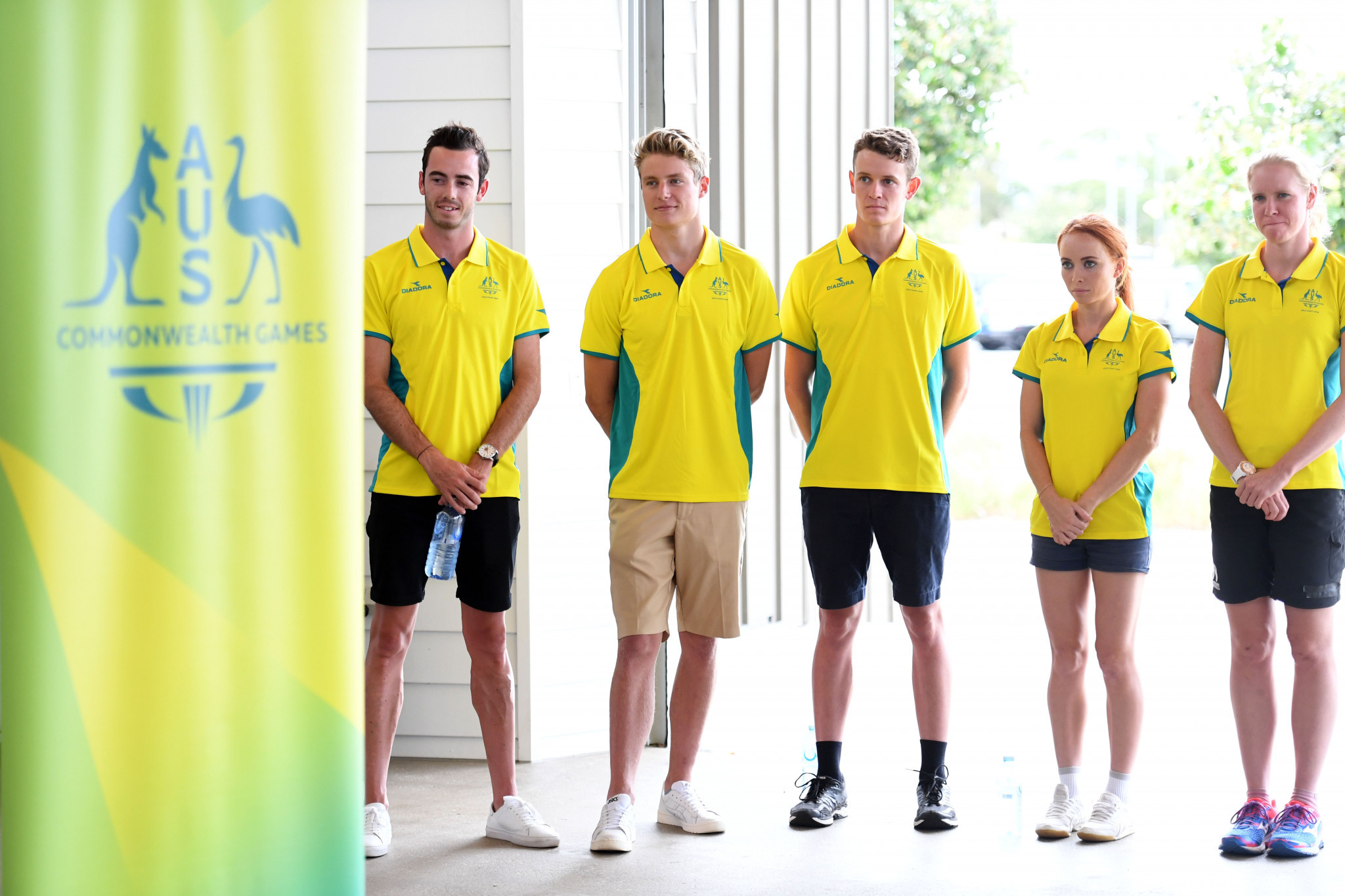 Members of the Australian triathlon team for the Gold Coast Commonwealth Games, who were named today at Broadwater Parklands in Southport ©Commonwealth Games Australia