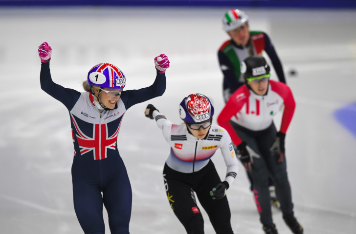 South Korea's Choi Min-jeung, who took the overall ISU Short Track World Cup 1,500m title in Seoul, had to settle for silver in the 500m final as Britain's world champion Elise Christie earned her first win in an injury-ravaged season ©Getty Images