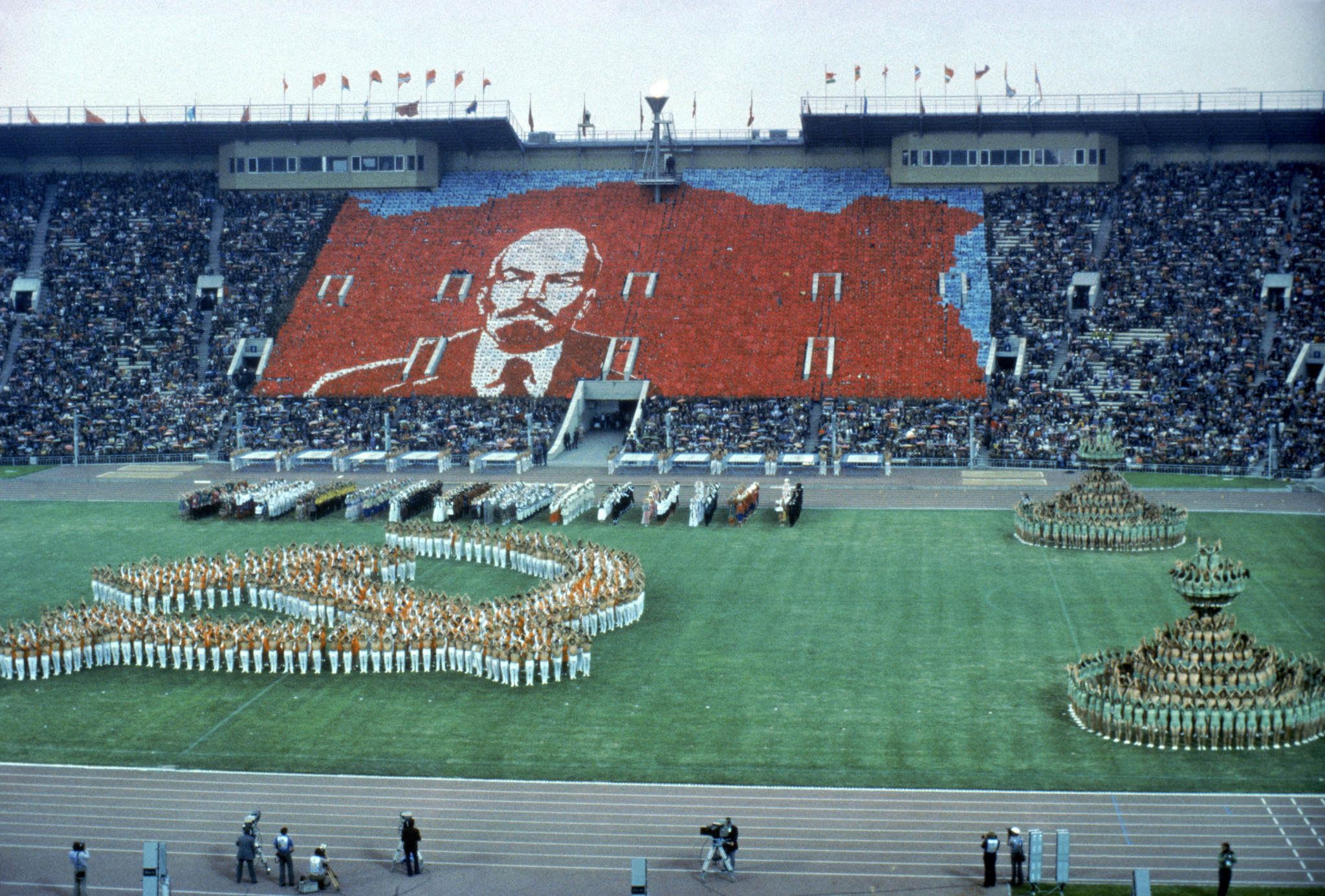 A scene from the controversial 1980 Moscow Olympics, with a giant picture of Soviet founder Lenin in the background ©Getty Images
