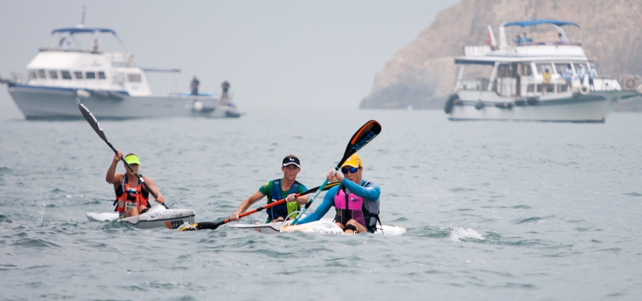 Hayley Nixon led a South African one-two in today's open event at the International Canoe Federation Ocean Racing World Championships in Hong Kong ©Graham Daniel/ICF