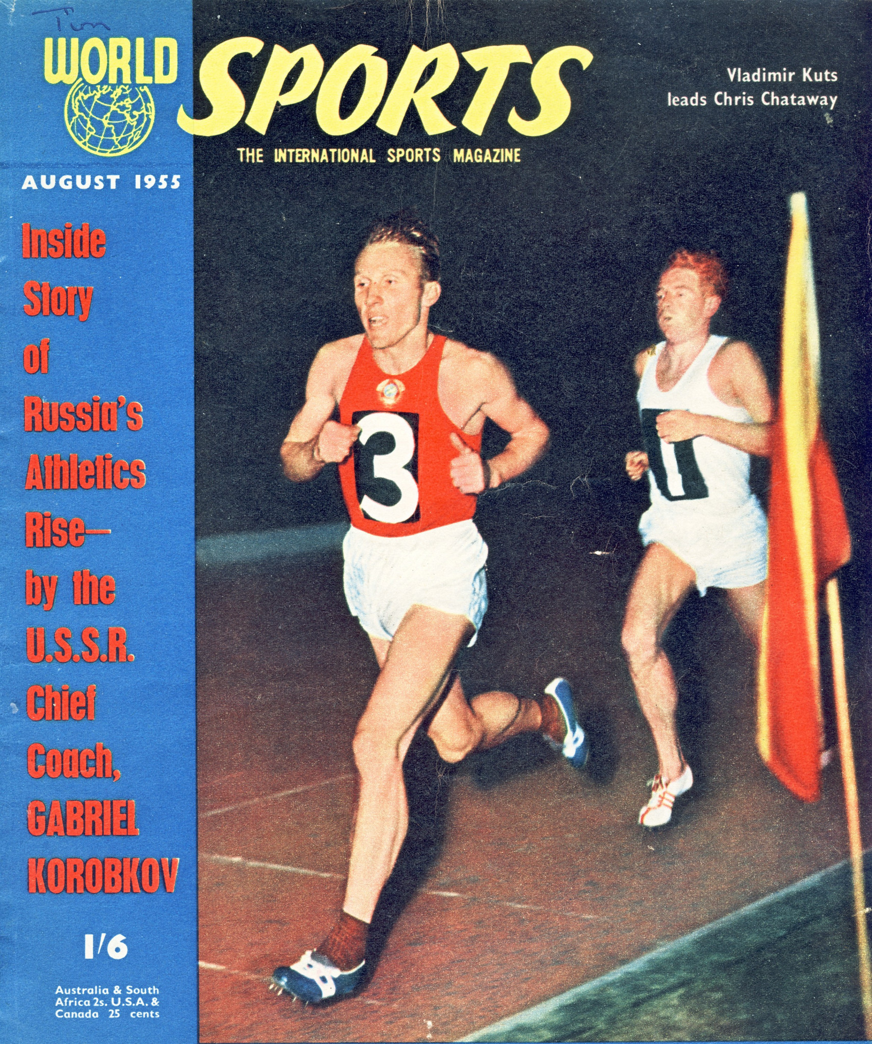 Ukrainian-born middle distance runner Vladimir Kuts is a cover star for western magazine 'World Sports'