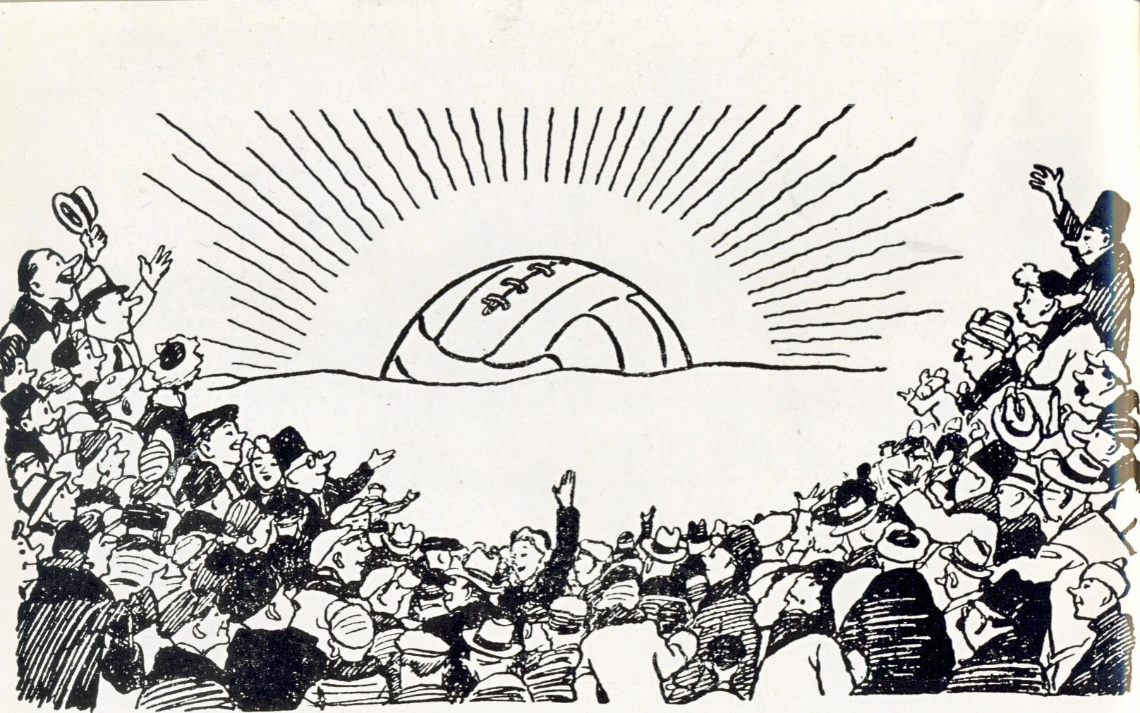 A Soviet cartoon depicting the growing rise of football as a national treasure