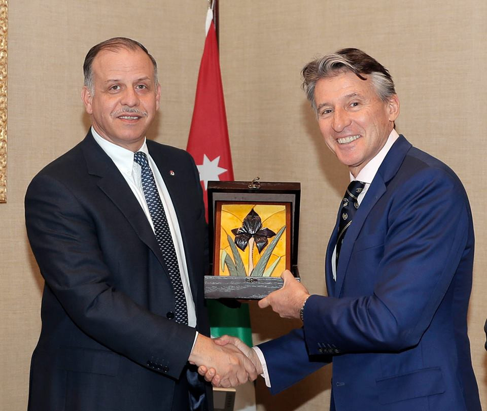 Coe meets with Jordan Olympic Committee President during visit to Amman
