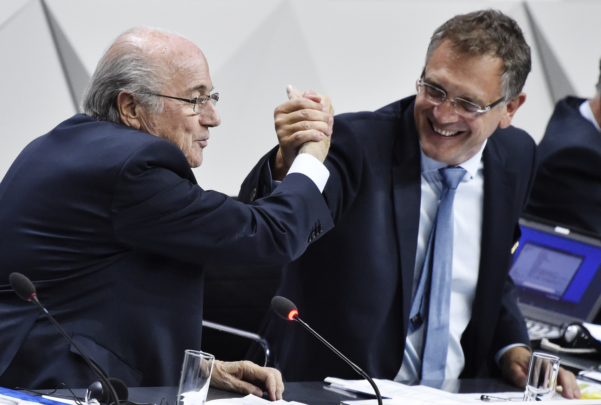 Enjoying the better times that's former FIFA President Sepp Blatter with then general secretary Jerome Valcke back in 2015 ©Getty Images