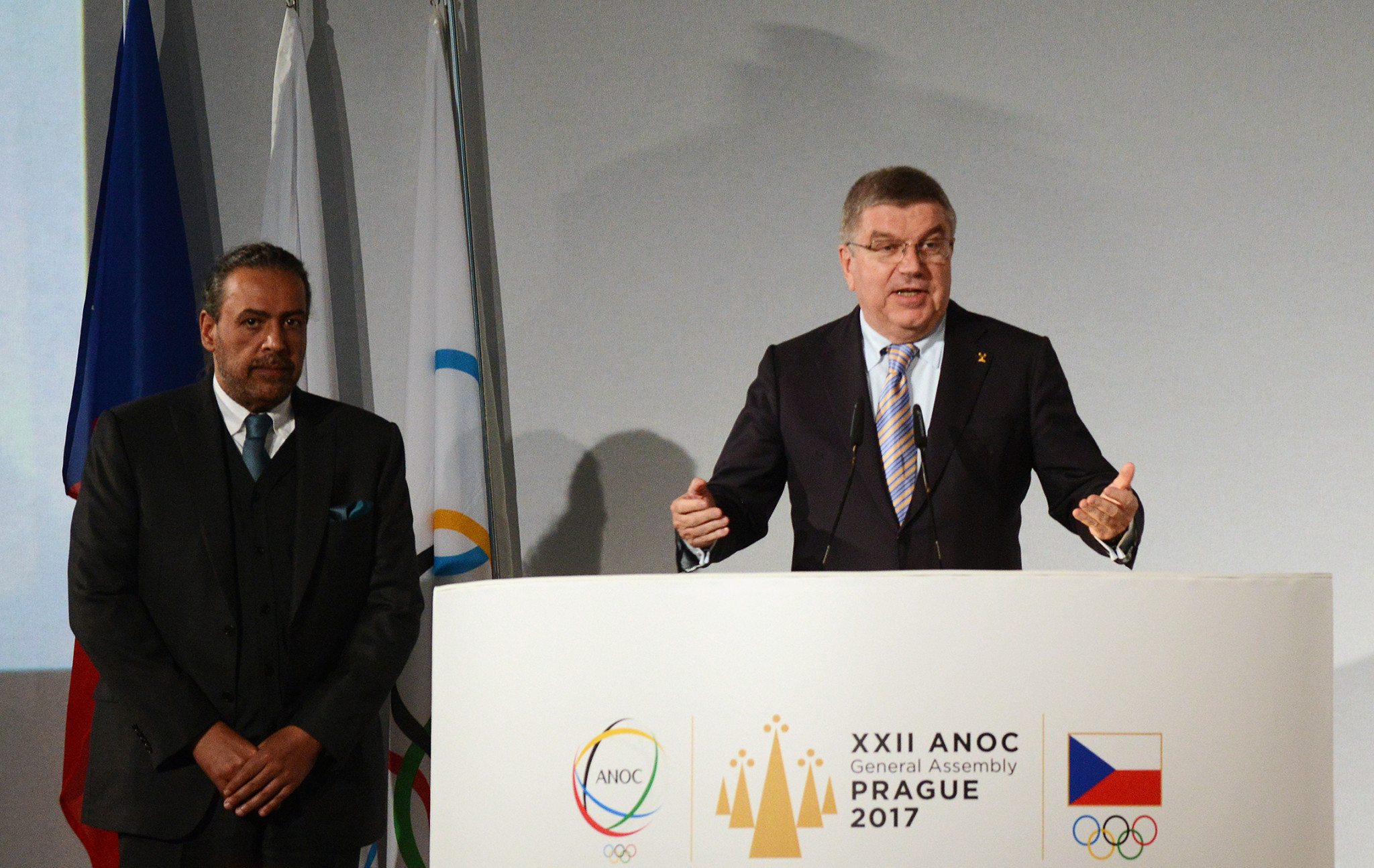 IOC President Thomas Bach, right, and ANOC counterpart Sheikh Ahmad Al-Fahad Al-Sabah are each attending the ANOC General Assembly ©Getty Images